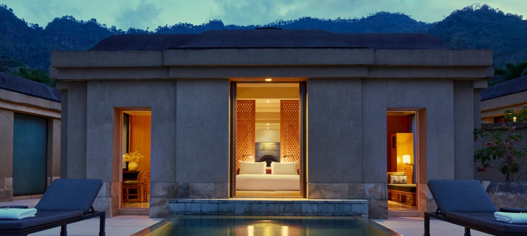Borobudur Pool Suite at night